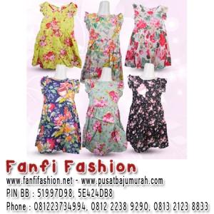 dress kutung bunga motif baju import anak fanfi fashion